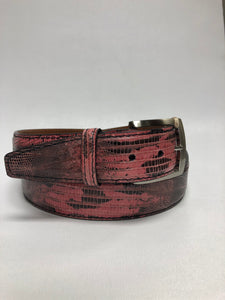 Pink and Black Lizard 40MM Belt - Black Machine Stitch & Black Edge