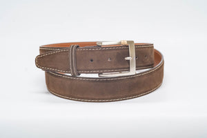 Overstock Sale - Espresso Suede Tan Stitch Espresso Edge - 40MM