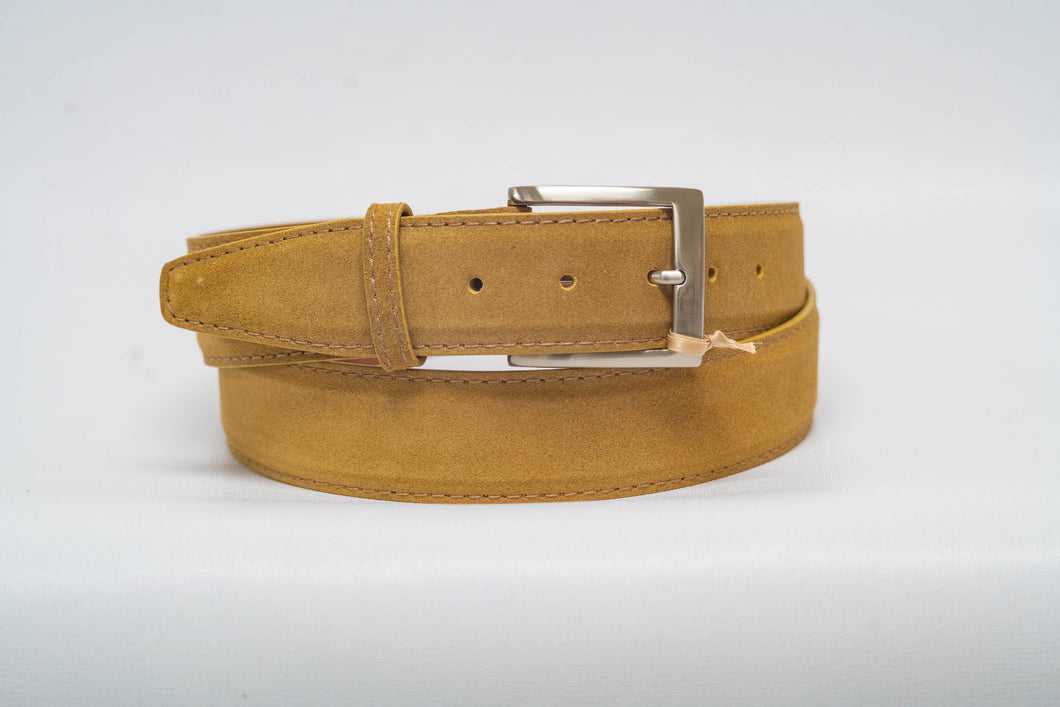 Overstock Sale - Tan Suede 40MM Belt - Tan Machine Stitch & Tan Edge