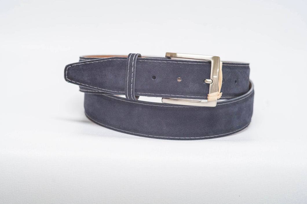 Overstock Sale - Navy Suede Grey Stitch Grey Edge - 40MM