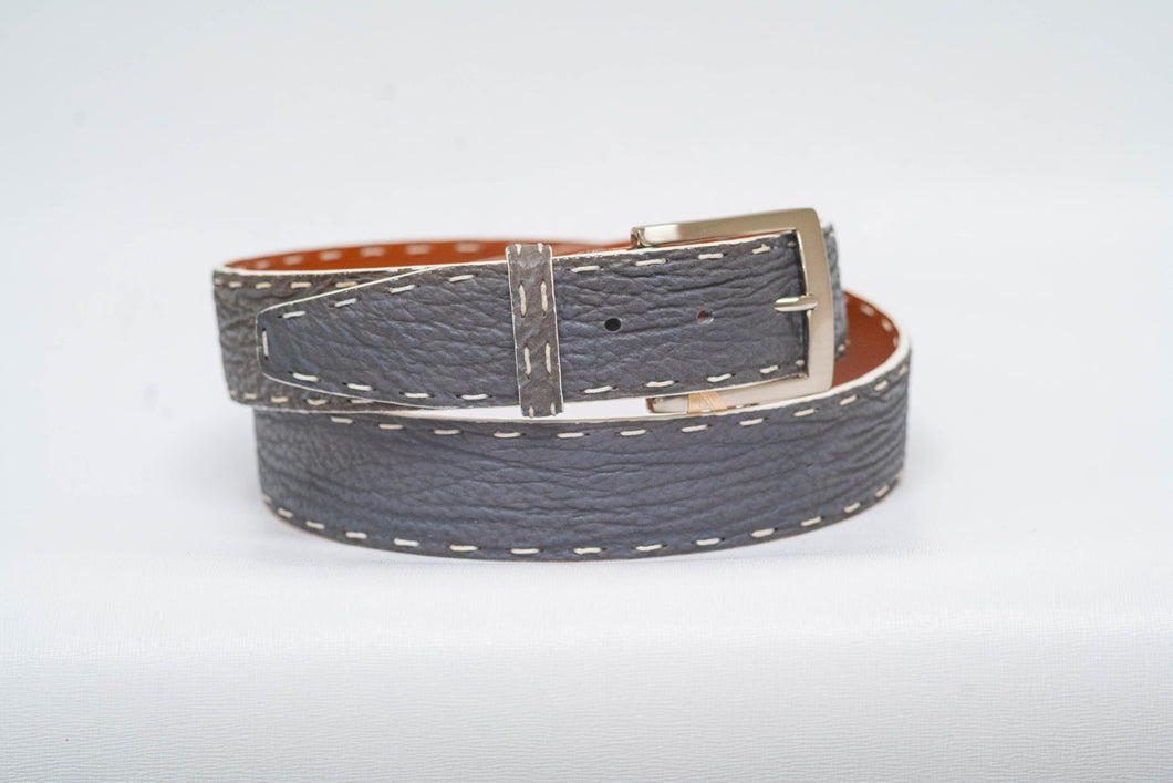 Overstock Sale - Grey Shark 40MM Belt - White Hand Stitch and White Edge