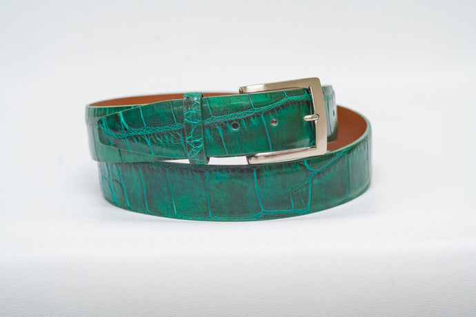 Emerald Glossy Alligator 40MM Belt - No Stitch & Emerald Edge