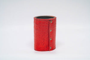 Red Crocodile Koozie - Black Machine Stitch & Red Edge