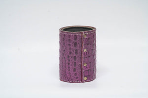Koozie- Purple Genuine Crocodile with White Stitching and Purple Edge