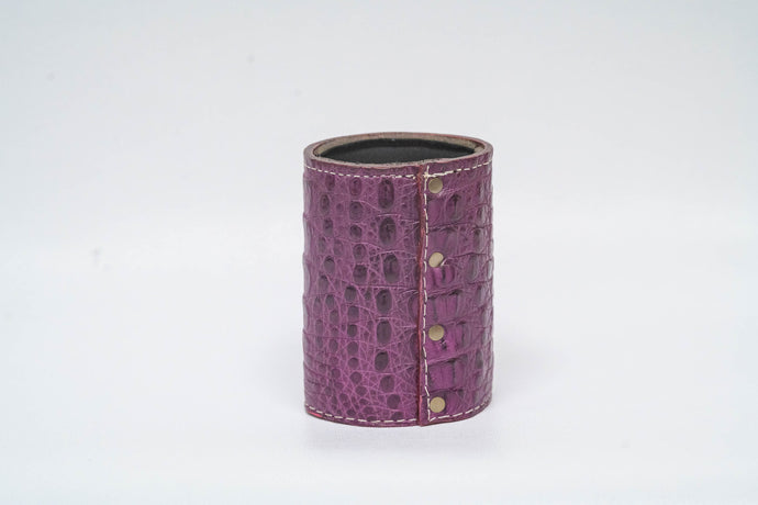 Purple Crocodile Koozie - White Machine Stitch & Purple Edge