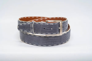Grey Lizard 40MM Belt - White Hand Stitch & White Edge