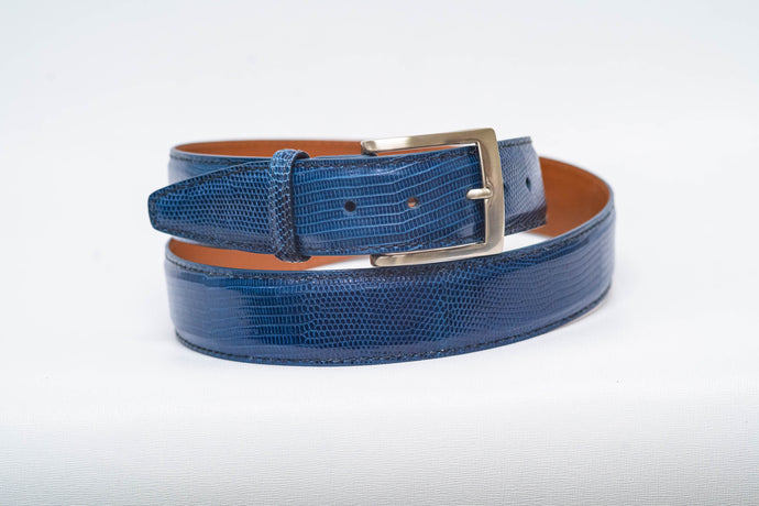 Overstock Sale- Blue Lizard With Black Machine Stitch and Blue Edge - 40MM