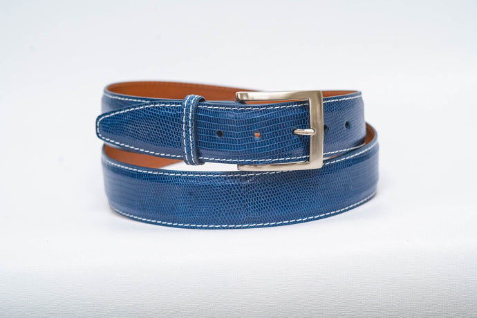 Overstock Sale - Blue Lizard With White Machine Stitch and Blue Edge - 40MM