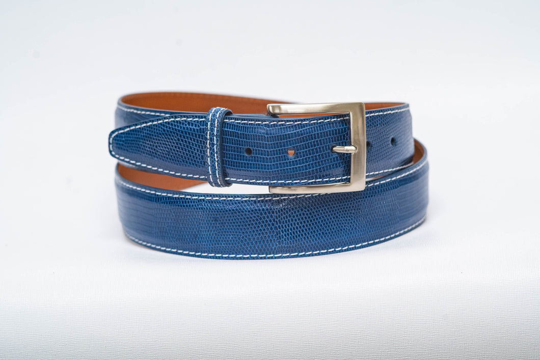 Overstock Sale - Ocean Lizard 40MM Belt - White Machine Stitch & Ocean Edge
