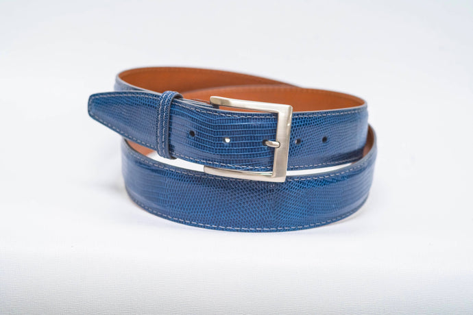 Overstock Sale - Blue Lizard With Grey Machine Stitch and Grey Edge - 40MM