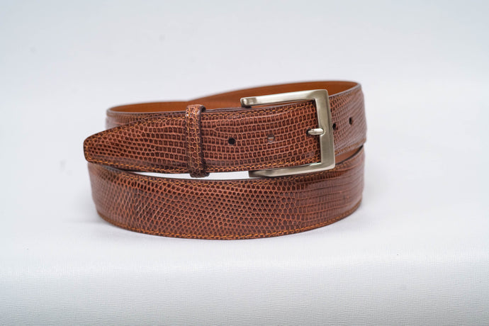 Overstock Sale - Cognac Lizard With Brown Machine Stitch and Cognac Edge - 40MM