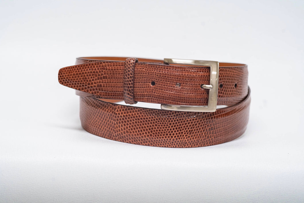 Overstock Sale - Cognac Lizard 40MM Belt - No Stitch & Cognac Edge
