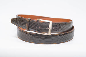 Overstock Sale - Espresso Lizard 40MM Belt - Espresso Machine Stitch & Espresso Edge