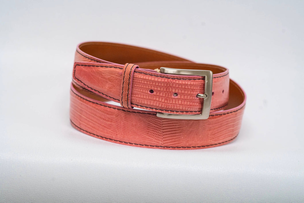 Overstock Sale - Pink Lizard 40MM Belt - Black Machine Stitch & Pink Edge