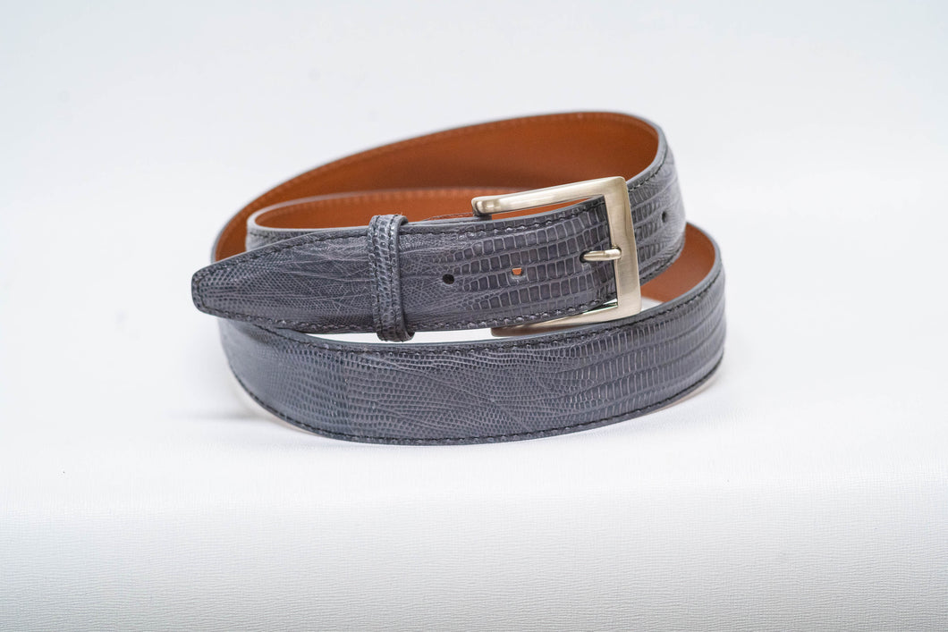 Overstock Sale - Grey Lizard 40MM Belt - Black Machine Stitch & Grey Edge