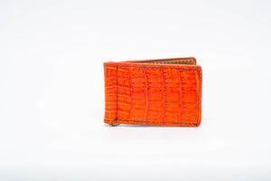 Wallet- Orange Genuine Crocodile with Black Stitch and Orange Edge