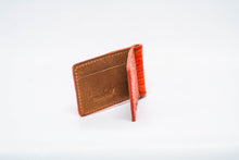 Load image into Gallery viewer, Wallet- Orange Genuine Crocodile with Black Stitch and Orange Edge