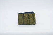Load image into Gallery viewer, Cash Cover- Olive Genuine Caiman Crocodile with Navy Stitching and Navy Edge