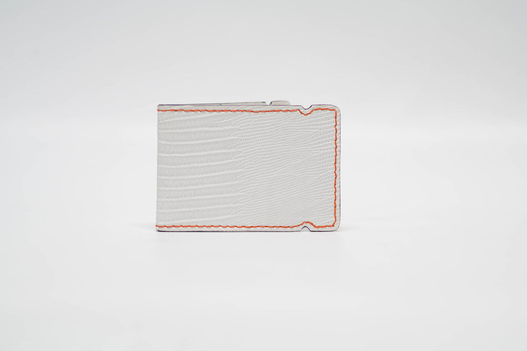 Cash Cover- White Lizard with Orange Stitching and Purple Edge