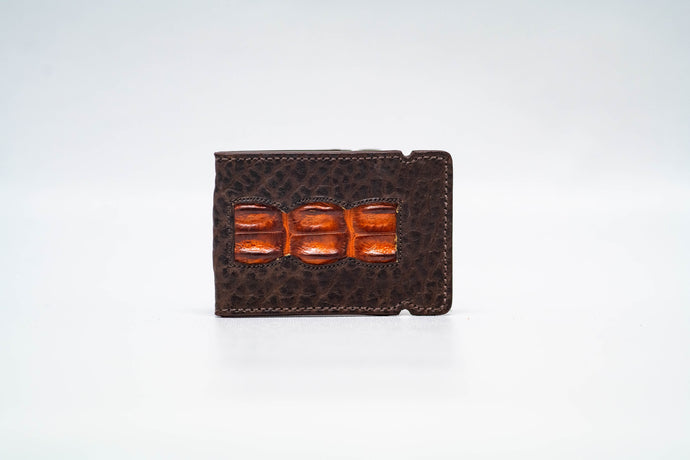 Cash Cover- Bison (Espresso) Cash cover with Hornback (Cognac) Inlay