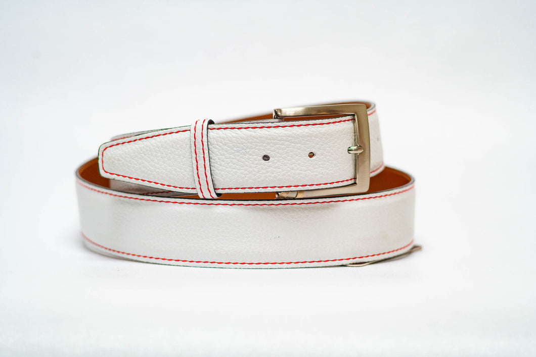 White Pebble Grain 40MM Belt - Red Machine Stitch & Black Edge