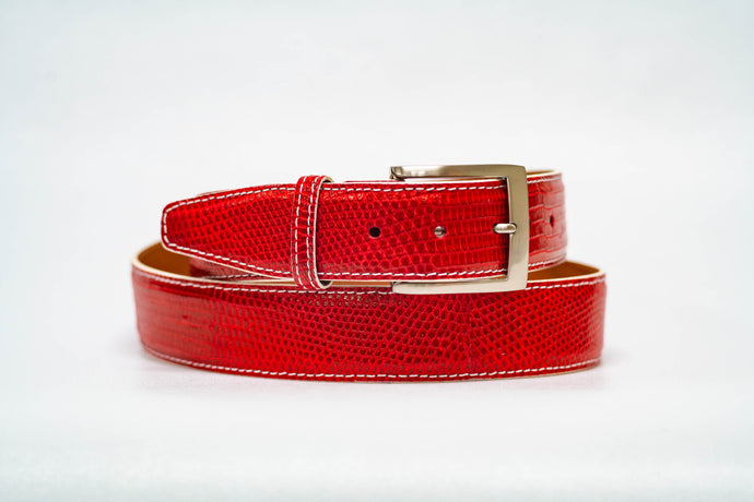 Red Lizard 40MM Belt - White Machine Stitch & White Edge