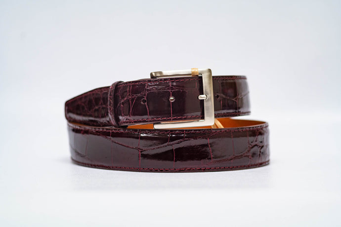 Wine Glossy Alligator 40MM Belt - Wine Stitch & Wine Edge