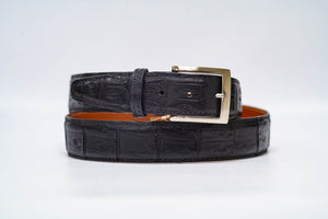 Onyx Caiman Crocodile 40MM Belt - Onyx Stitch & Onyx Edge