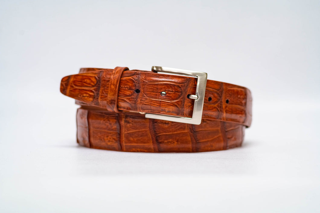 Cognac Caiman Crocodile 40MM Belt - No Stitch & Cognac Edge