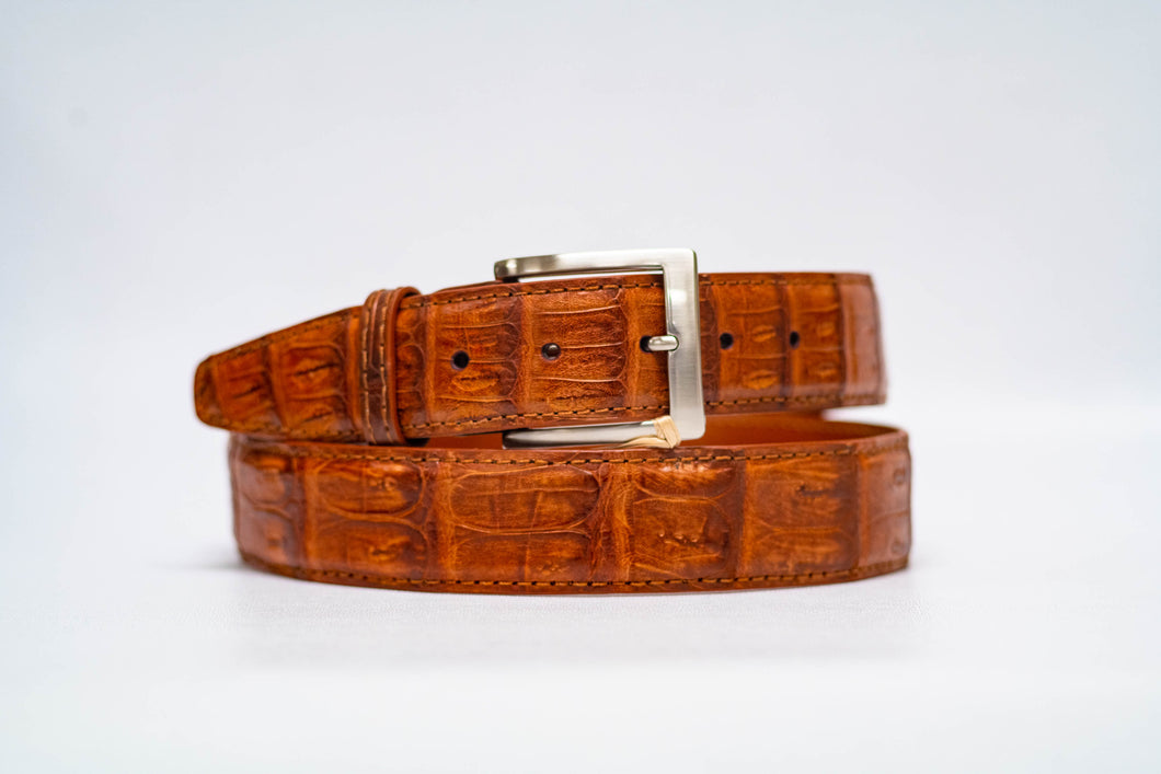 Cognac Caiman Crocodile 40MM Belt - Cognac Stitch & Cognac Edge