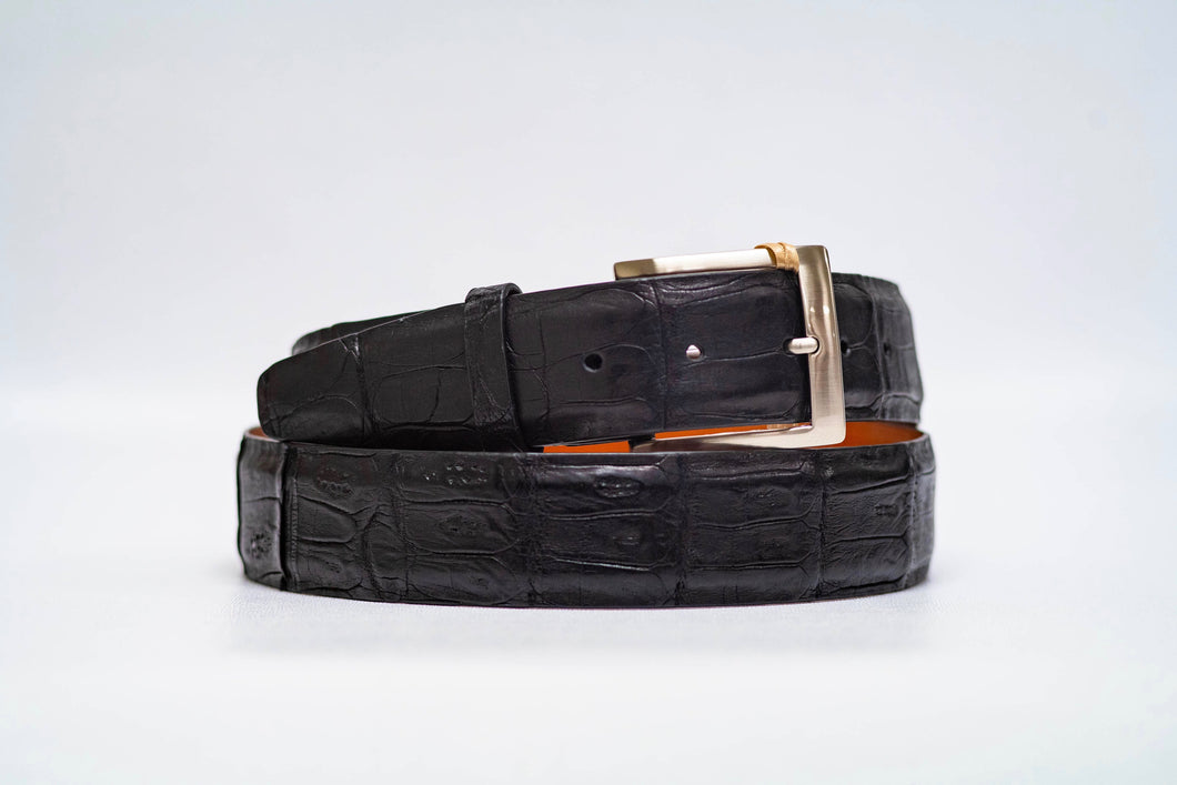 Onyx Caiman Crocodile 40MM Belt - No Stitch & Onyx Edge