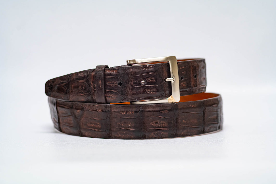 Espresso Caiman Crocodile 40MM Belt - No Stitch & Espresso Edge