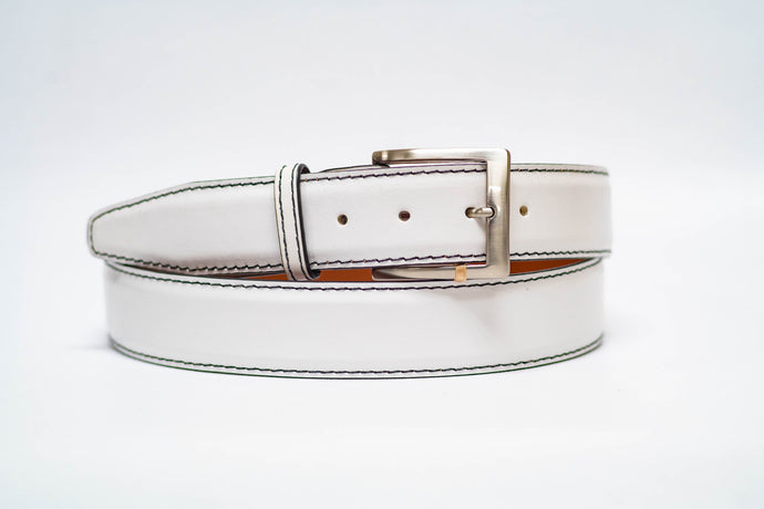 White Italian Calf 40MM Belt - Black Machine Stitch and Black Edge