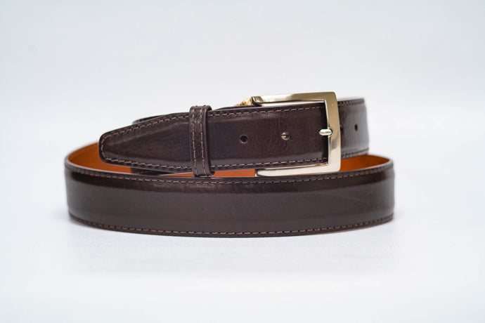 Espresso Italian Calf 40MM Belt - Espresso Machine Stitch and Espresso Edge