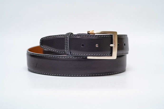 Onyx Italian Calf 40MM Belt - Grey Stitch and Grey Edge