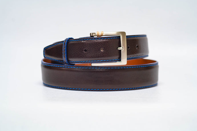 Espresso Italian Calf 40MM Belt - Royal Machine Stitch and Royal Edge