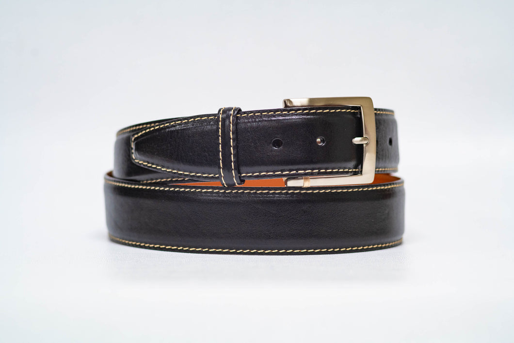 Onyx Italian Calf 40MM Belt - Tan Stitch and Onyx Edge
