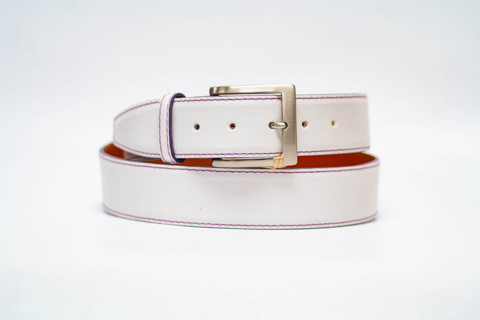 White Italian Calf 40MM Belt - Purple Machine Stitch and Purple Edge