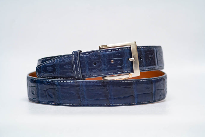 Midnight Caiman Crocodile 40MM Belt - Grey Machine Stitch & Grey Edge