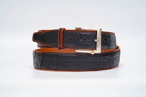Onyx Caiman Crocodile 40MM Belt - Orange Stitch & Orange Edge