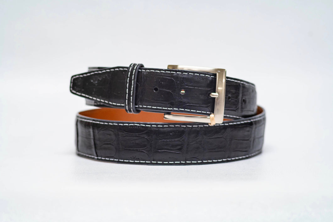 Onyx Caiman Crocodile 40MM Belt - White Stitch & Onyx Edge