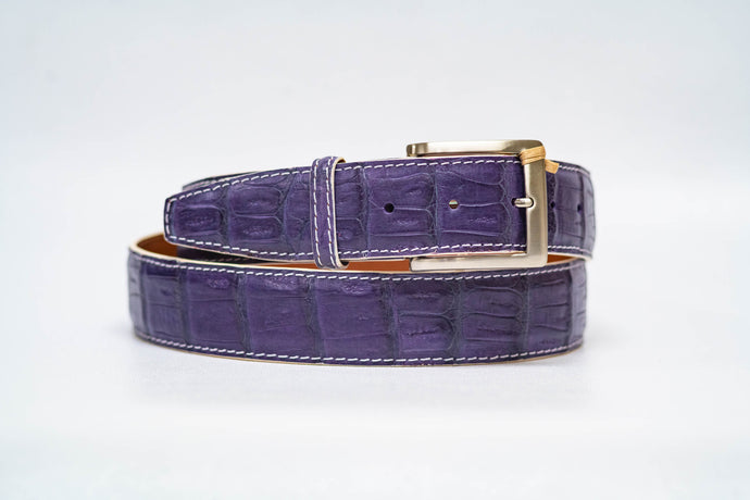 Amethyst Caiman Crocodile 40MM Belt - White Machine Stitch & White Edge