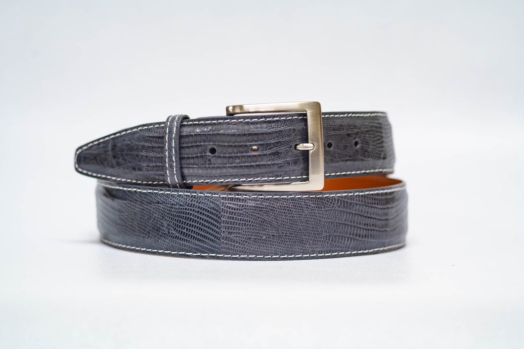 Grey Lizard 40MM Belt - White Stitch & Grey Edge
