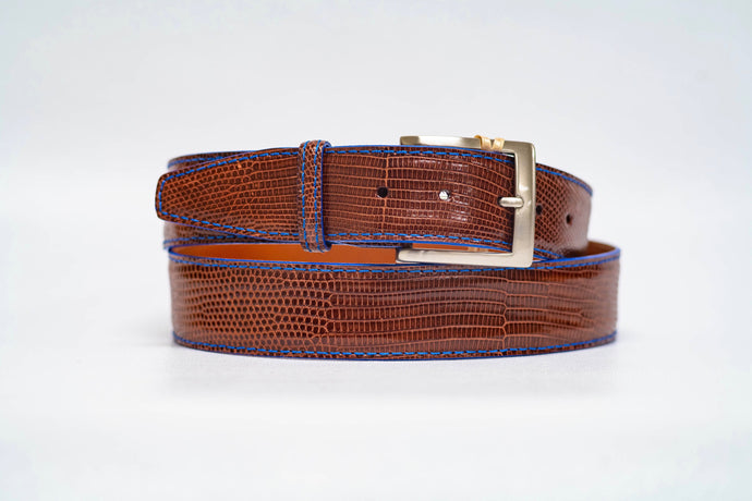 Espresso Lizard 40MM Belt - Royal Machine Stitch & Royal Edge