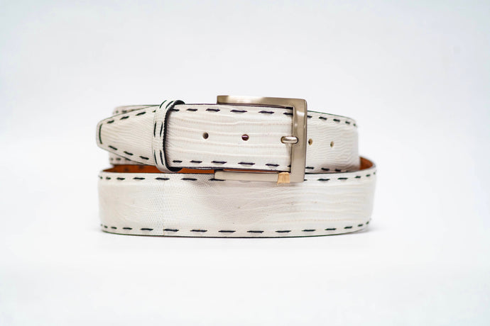 White Lizard 40MM Belt - Black Hand Stitch & Black Edge