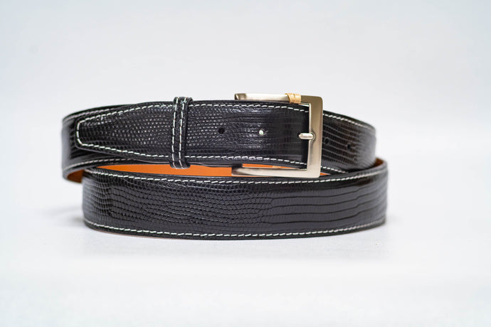 Black Lizard 40MM Belt - White Machine Stitch & Black Edge