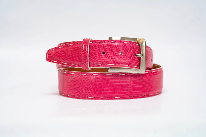 Pink Lizard 40MM Belt - White Pick Stitch & White Edge