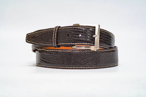 Espresso Lizard 40MM Belt - Tan Machine Stitch & Espresso Edge