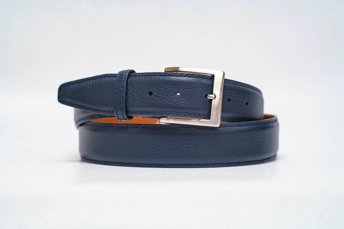 Navy Pebble Grain 40MM Belt - Navy Stitch & Navy Edge