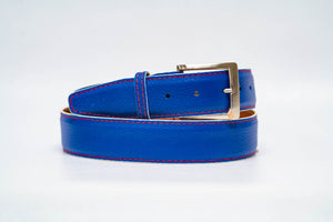 Royal Pebble Grain 40MM Belt - Red Stitch & White Edge